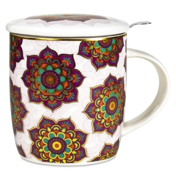 Set of teacup mandala red